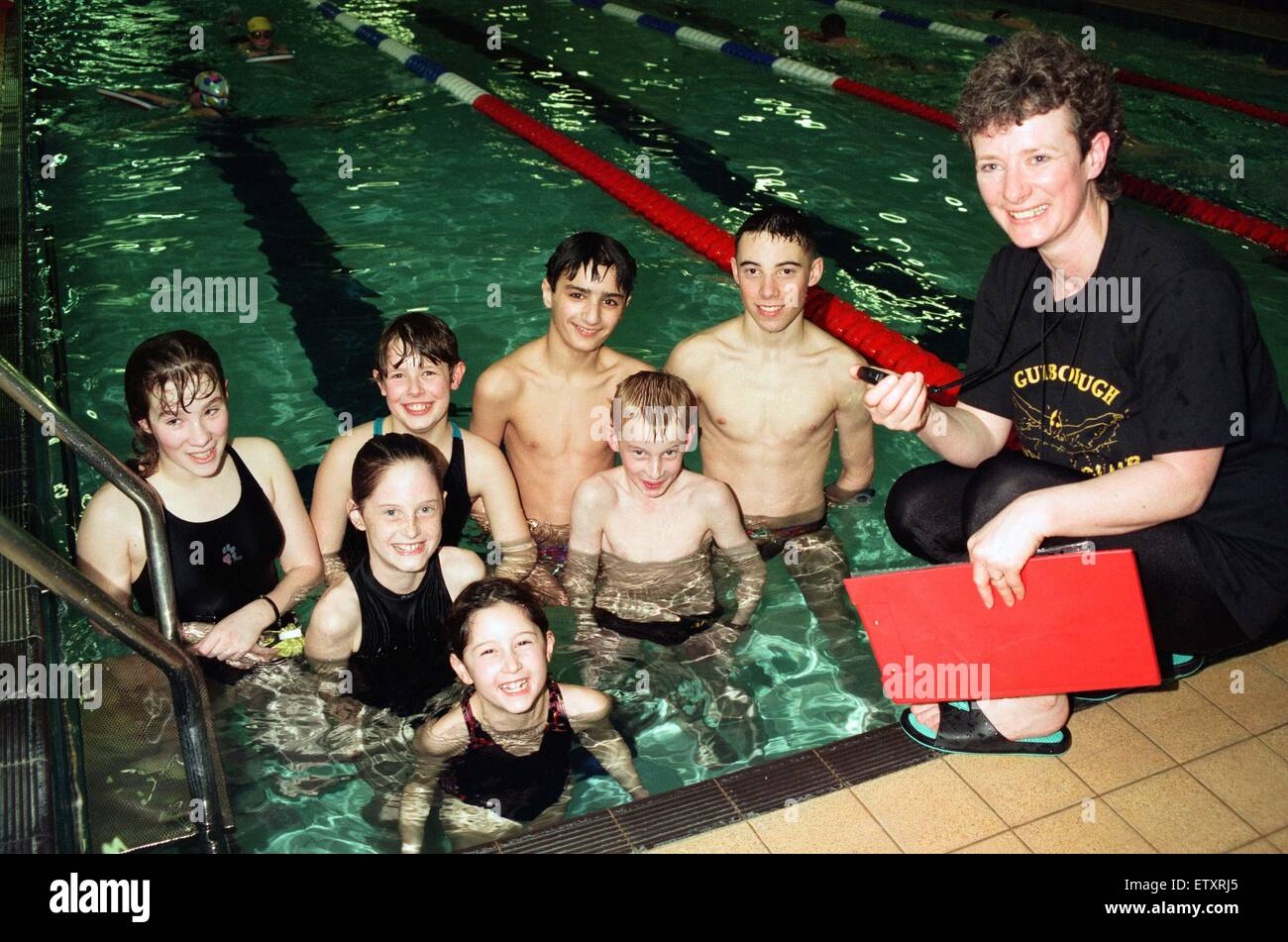 Members of the Guisborough Swimming Club who have been chosen for a gala. The clubs head coach Barbara Blades is - Stock Image