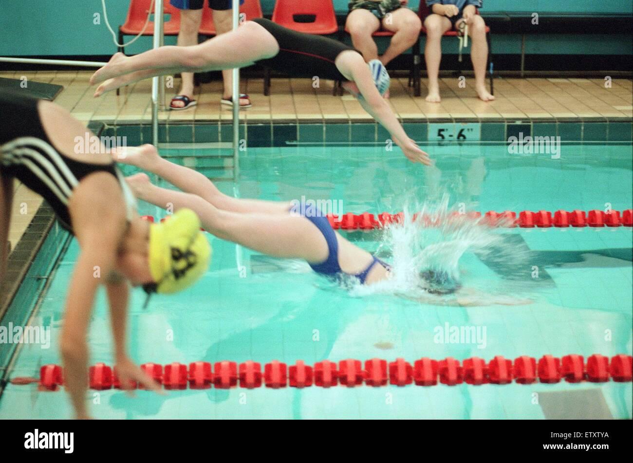 Action at the Guisborough Swimming Club Gala. 16th November 1997. - Stock Image