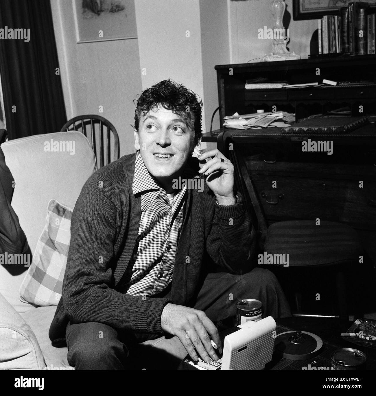Gene Vincent pictured at his home in Notting Hill, London. Earlier today he had been fined £20 for possessing - Stock Image
