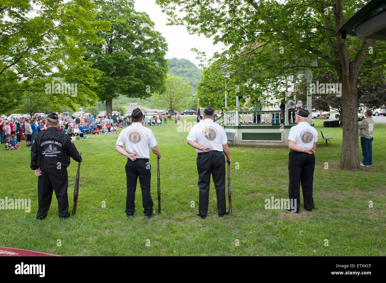 Veterans and Villagers observe Memorial Day ceremony in Townshend Vermont - Stock Image