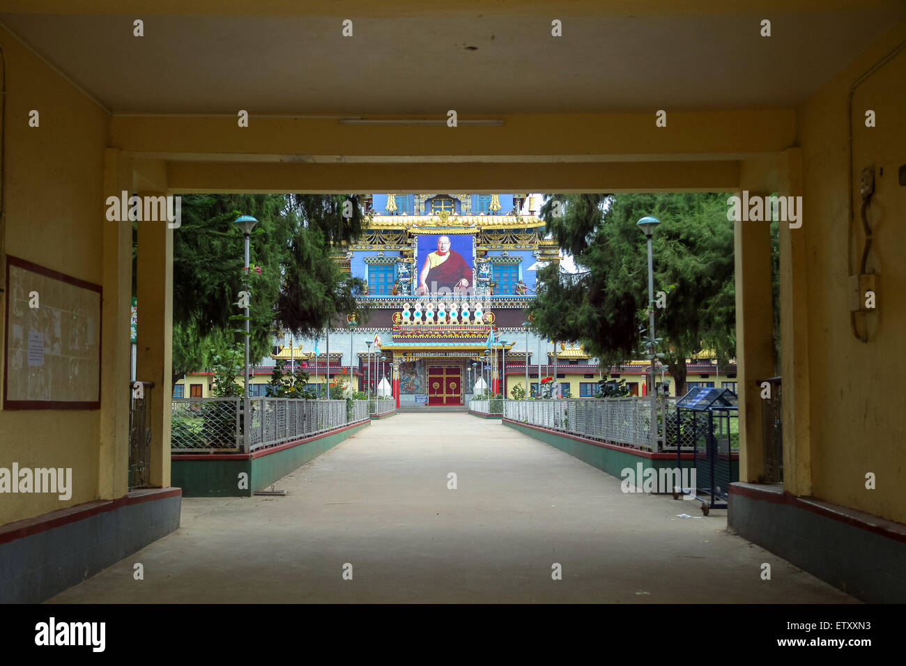 Entrance of Golden Temple,Coorg - Stock Image