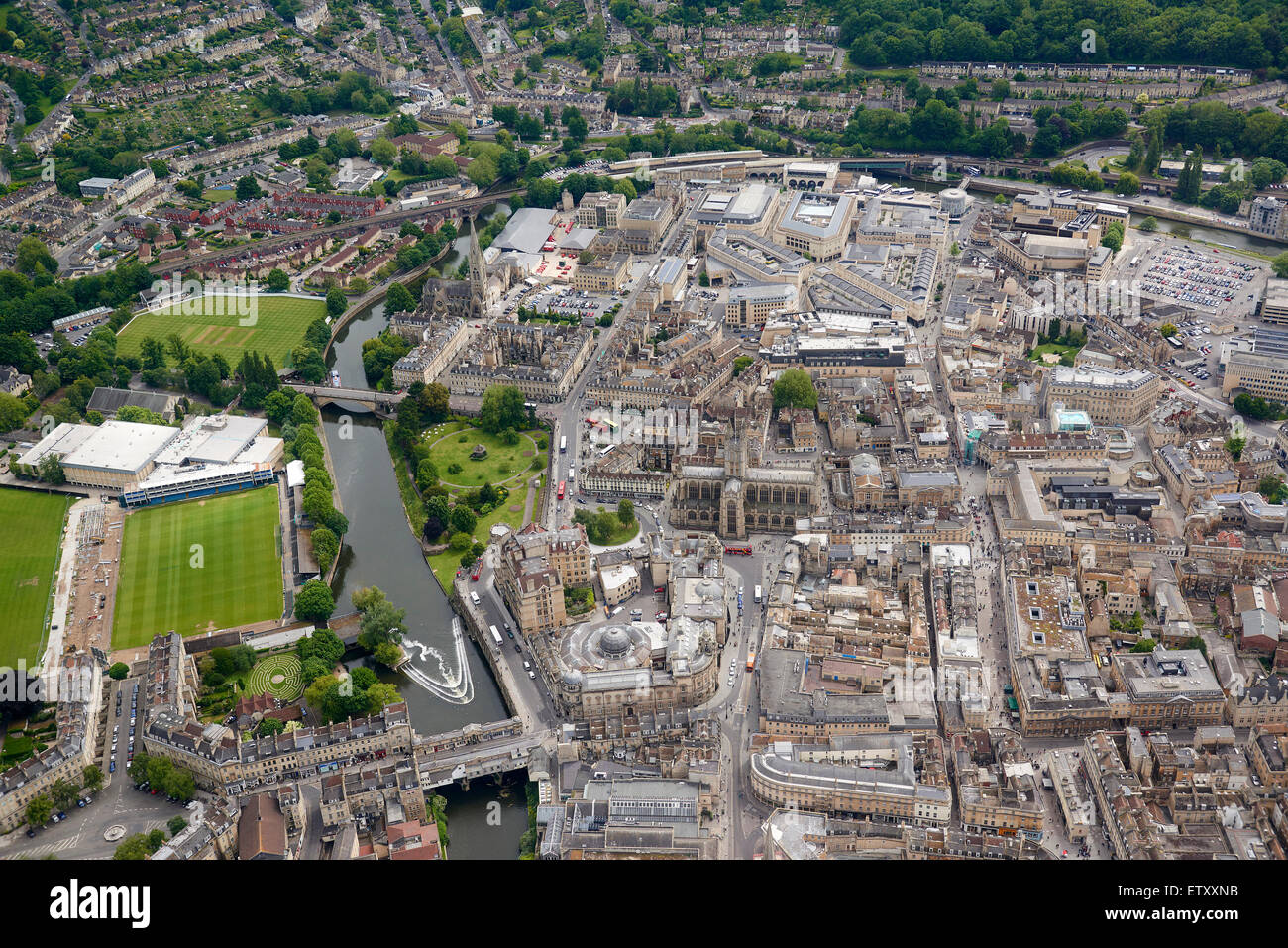 City of Bath, from the air, South West England, UK - Stock Image