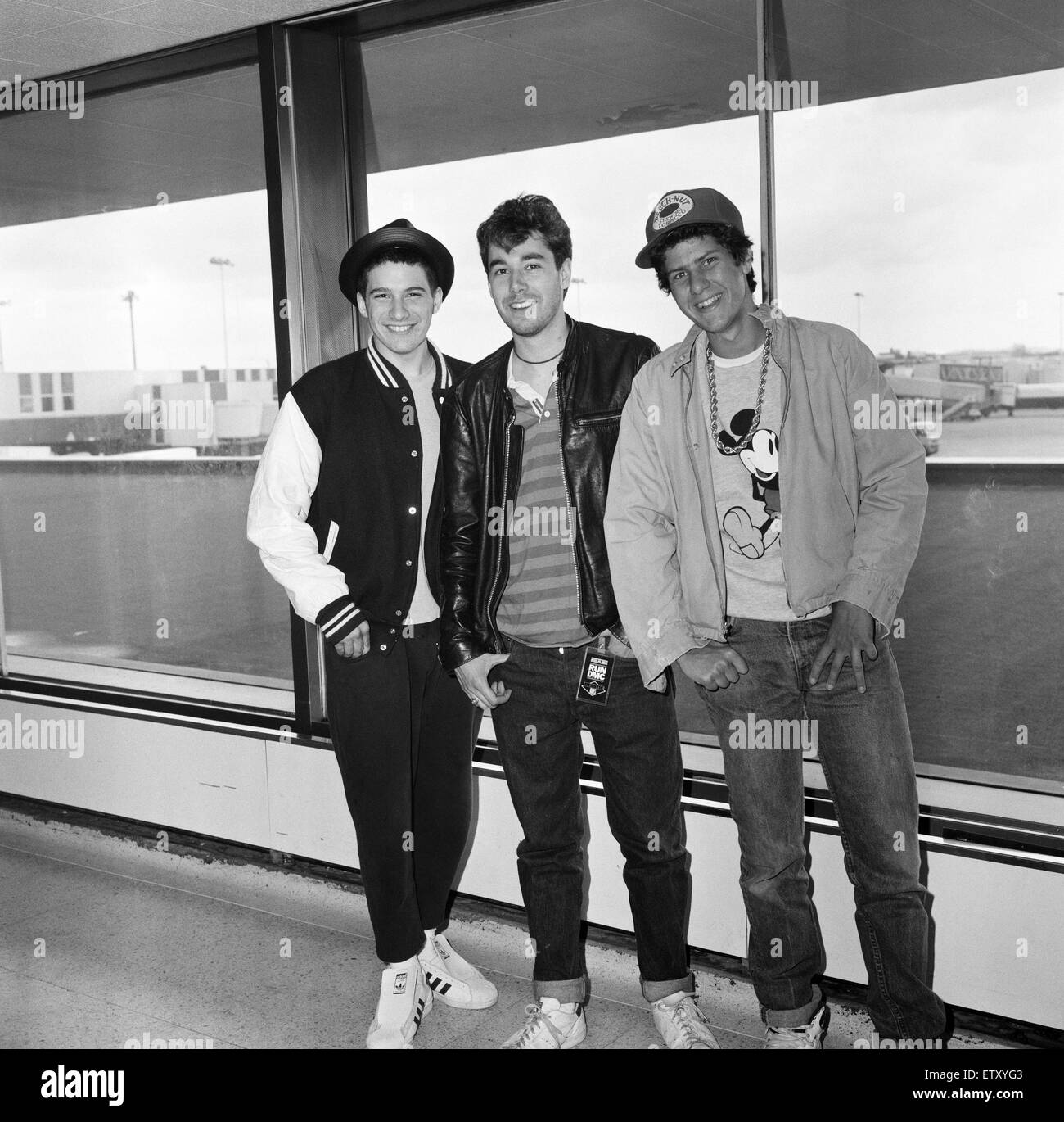 The Beastie Boys, Adam Horovitz (Ad-Rock), Adam Yauch (MCA) and Michael Diamond (Mike D) at London Airport. 13th May 1987. Stock Photo