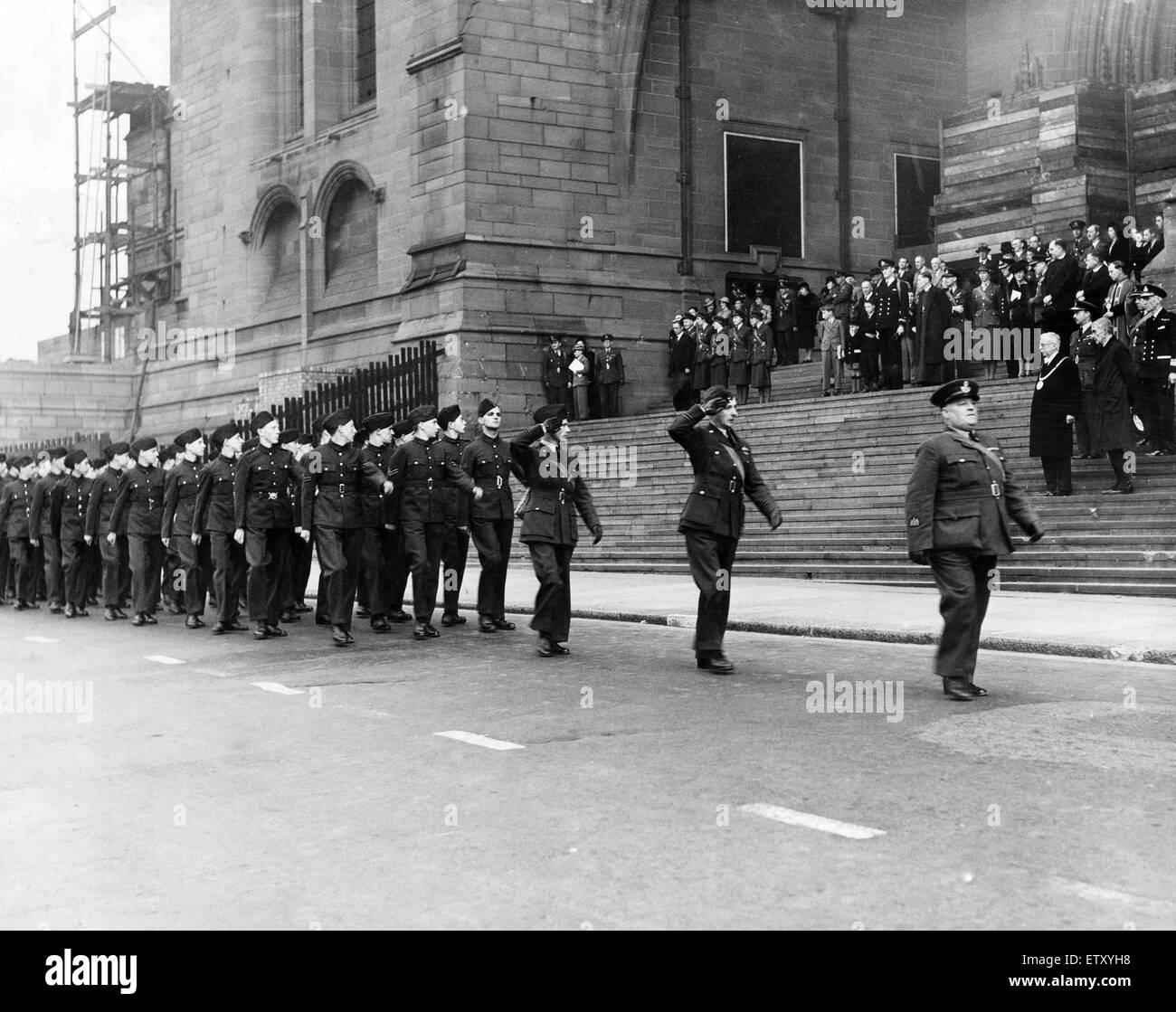 Members of the Air Training Corps on parade walking past the Anglican Cathedral in Liverpool. 22nd September 1941. - Stock Image