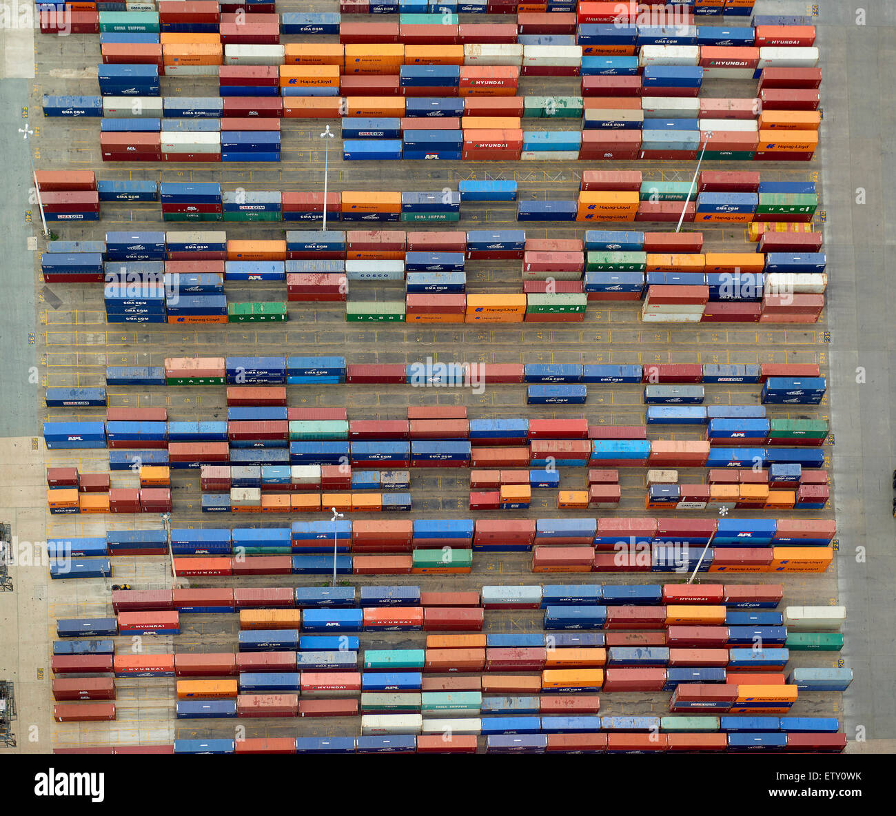 Shipping containers, Southampton Docks, southern England, UK - Stock Image