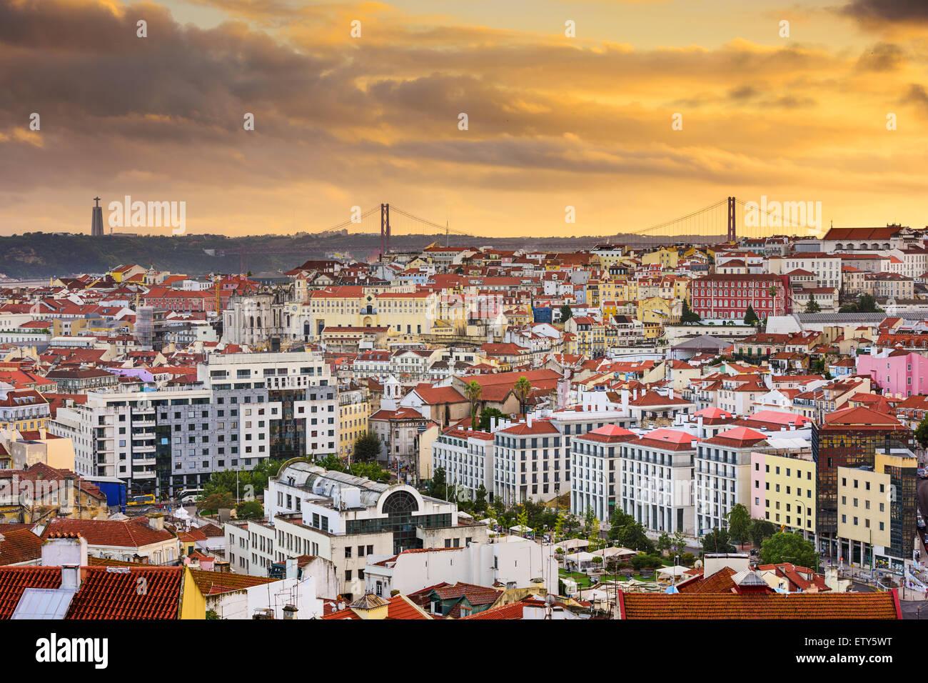 Lisbon, Portugal skyline at sunset. - Stock Image