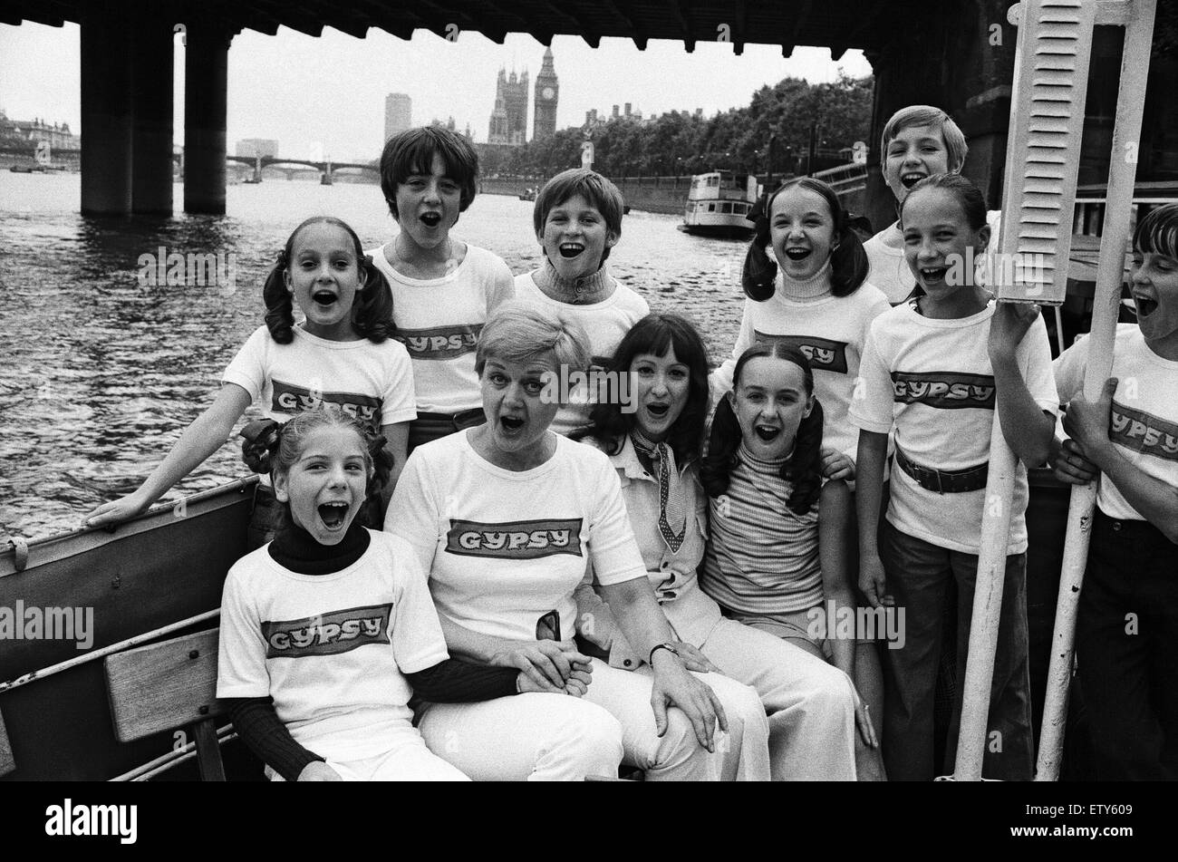 The entire cast of the show 'Gypsy' celebrated the 100th performance by going for a boat trip up the Thames - Stock Image
