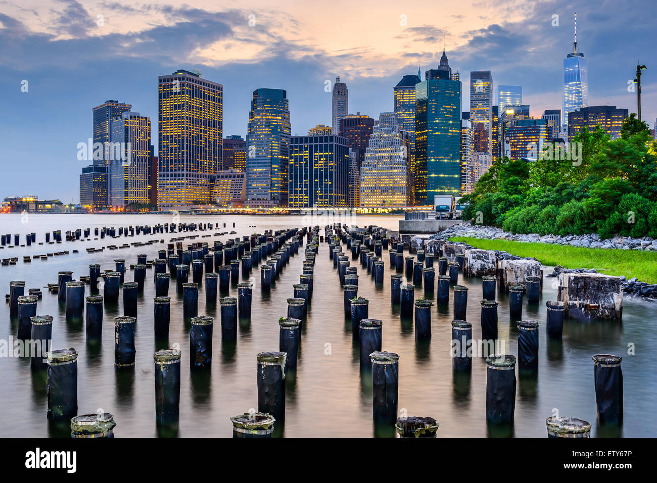 New York City, USA city skyline on the East River. - Stock Image
