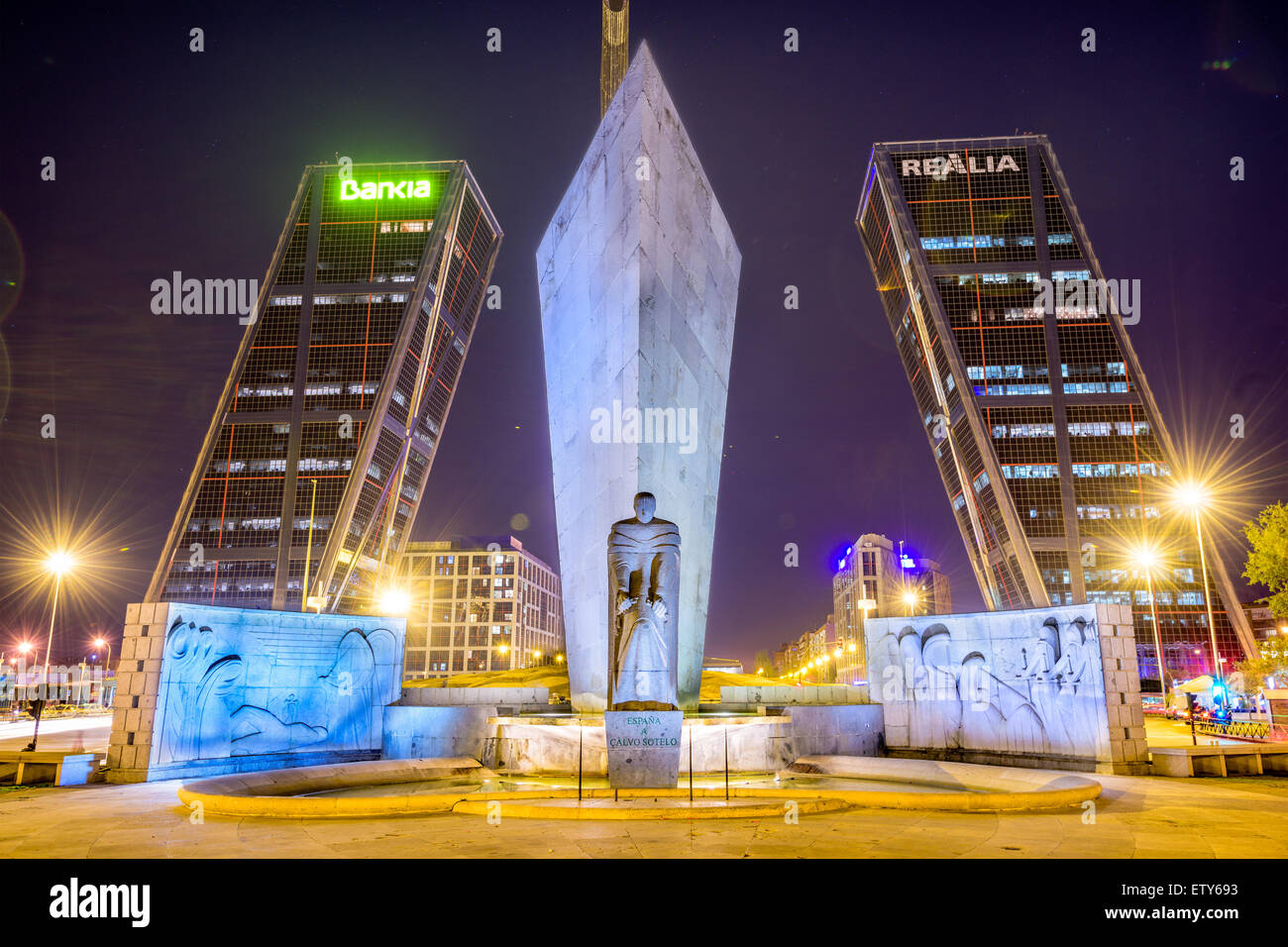 MADRID, SPAIN - OCTOBER 16, 2014: Puerta De Europa towers as viewed from Plaza de Castilla. - Stock Image