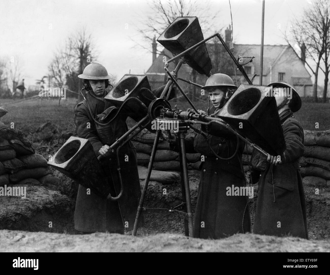Anti Aircraft Sound Locator Units in South Wales. March 1940. The operators are listening out for engine noise, - Stock Image