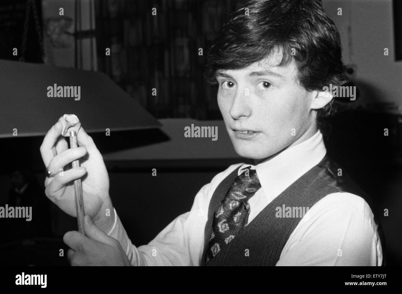 Seventeen year old snooker player Jimmy White playing at Wisbech Conservative Club in Cambridgeshire. 21st March - Stock Image