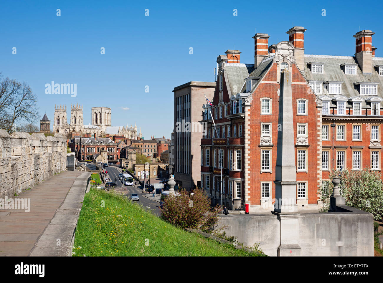 Looking towards the Minster from the City Walls in spring York North Yorkshire England UK United Kingdom GB Great - Stock Image
