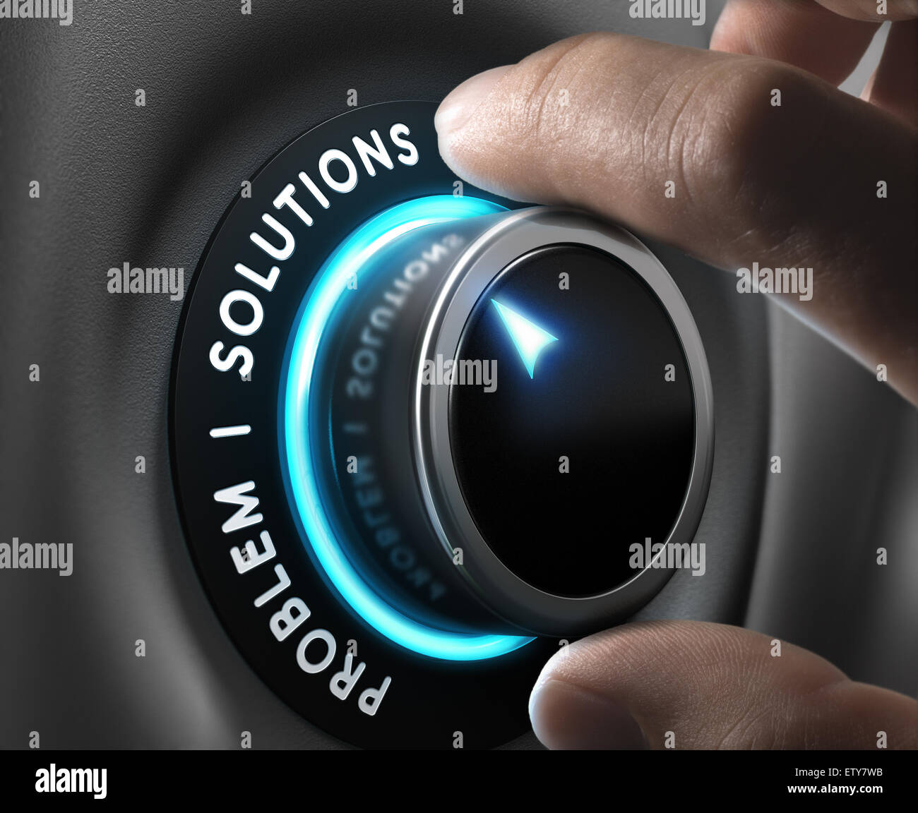 Solution switch positioned on the word solutions over grey background with blue lights. Concept of problem solving. - Stock Image