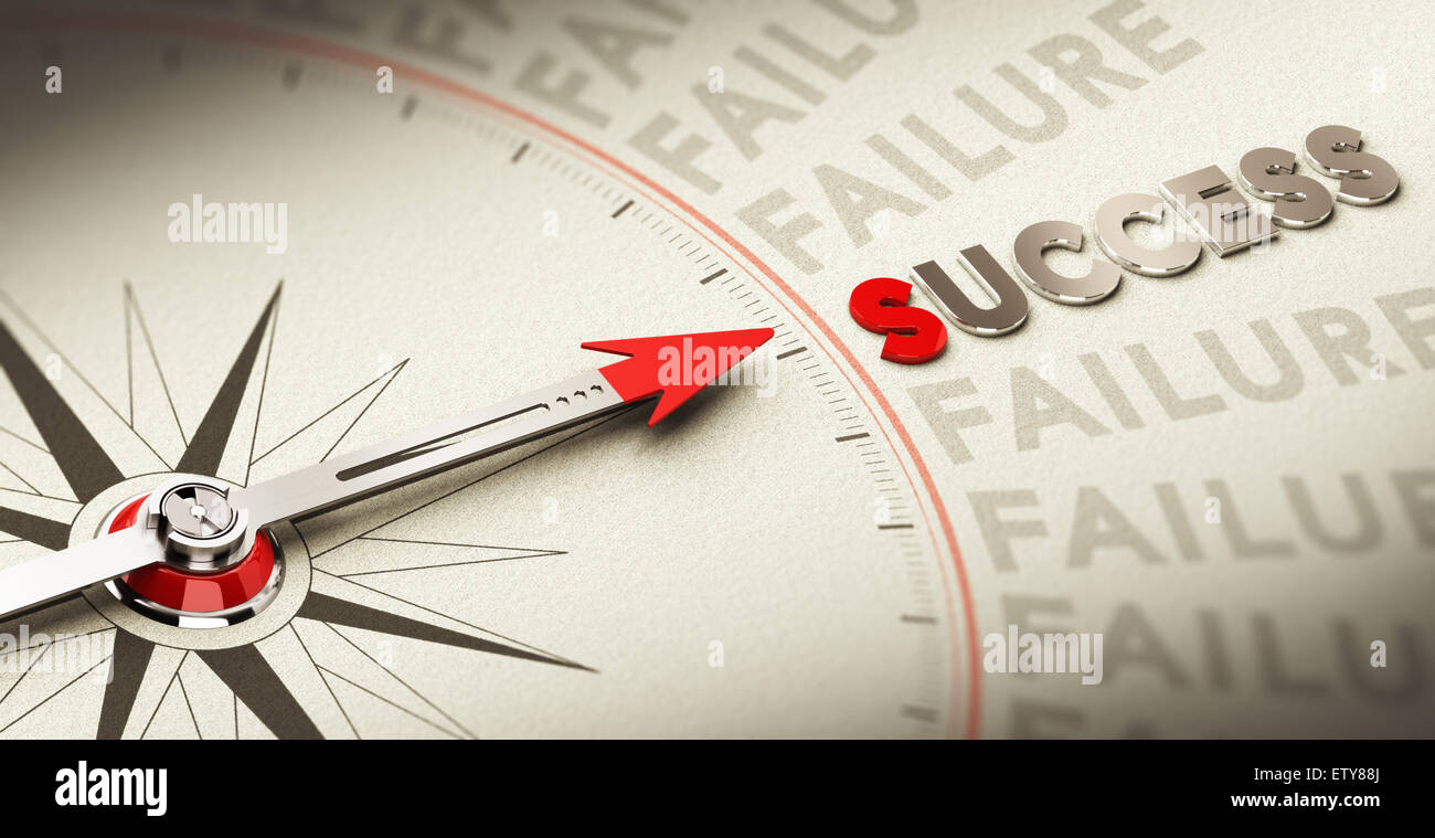 Compass pointing the word success made in magnetic material over old fashioned paper, concept for motivation purpose Stock Photo