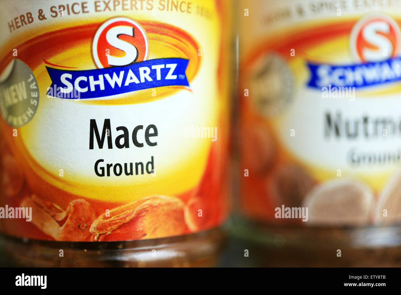 Schwartz jars of Ground Mace & Nutmeg which come from the