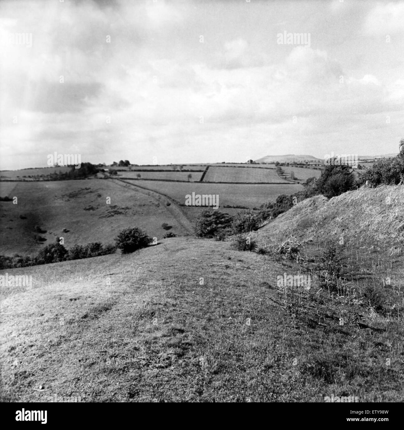 Offa's Dyke is a large linear earthwork that roughly follows the current border between England and Wales. Looking - Stock Image