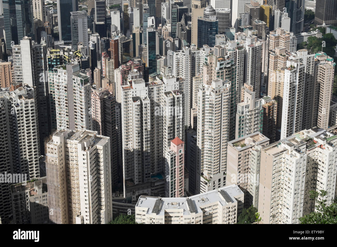 View of many high-rise apartment buildings in dense urban district of Hong Kong China - Stock Image