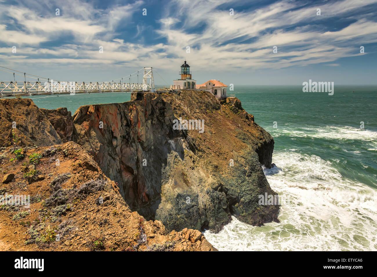 The bridge to Point Bonita Lighthouse on the rock, San Francisco, California - Stock Image
