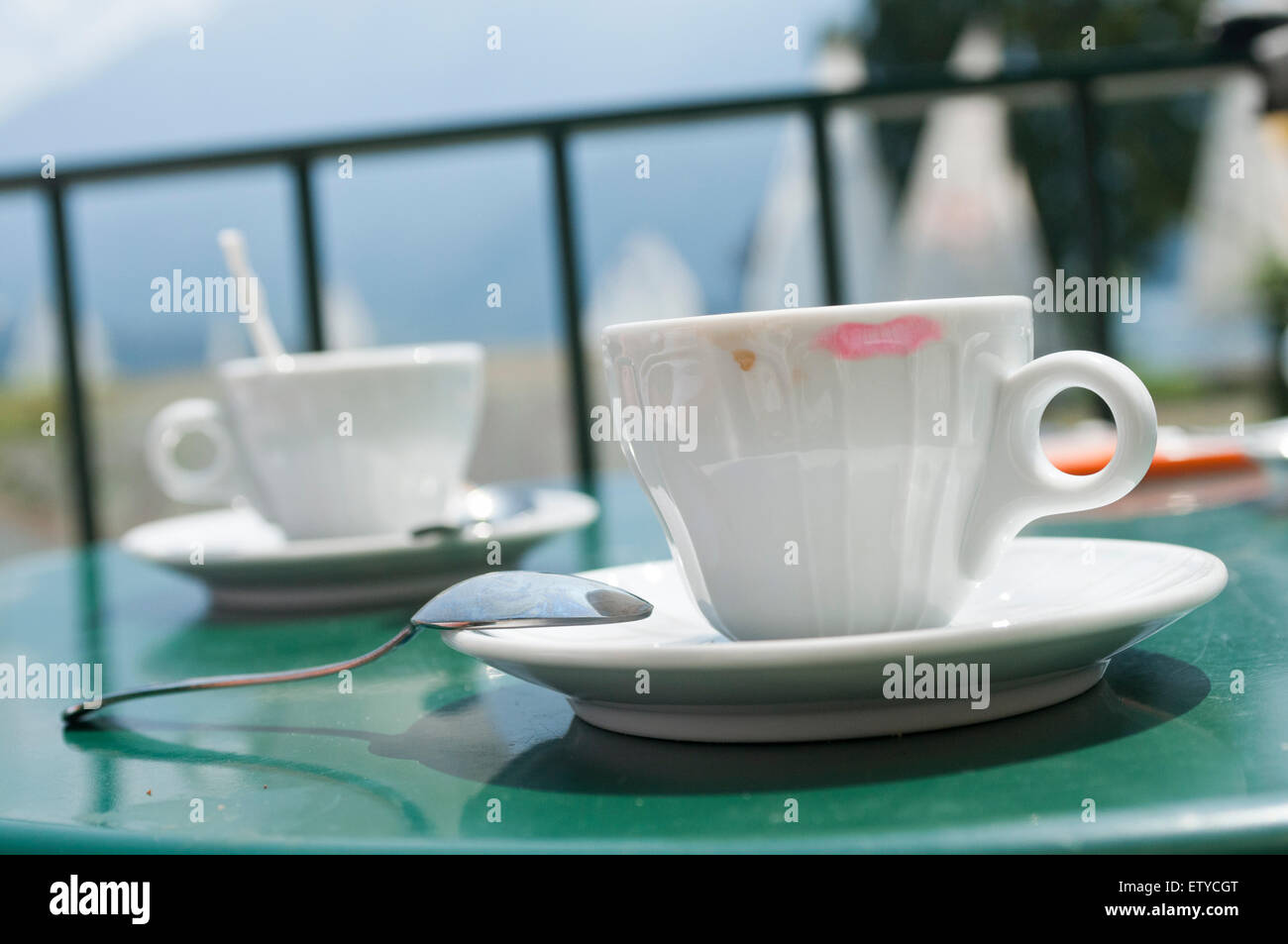cup of coffee with red lipstick mark - Stock Image