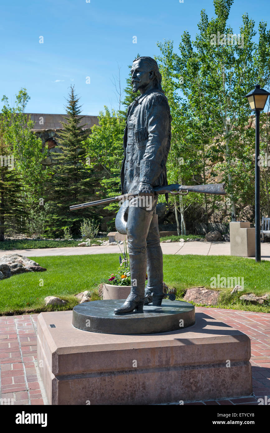 Statue of the famous hero of the Wild West  Buffalo Bill , Cody, Wyoming, USA, North America - Stock Image