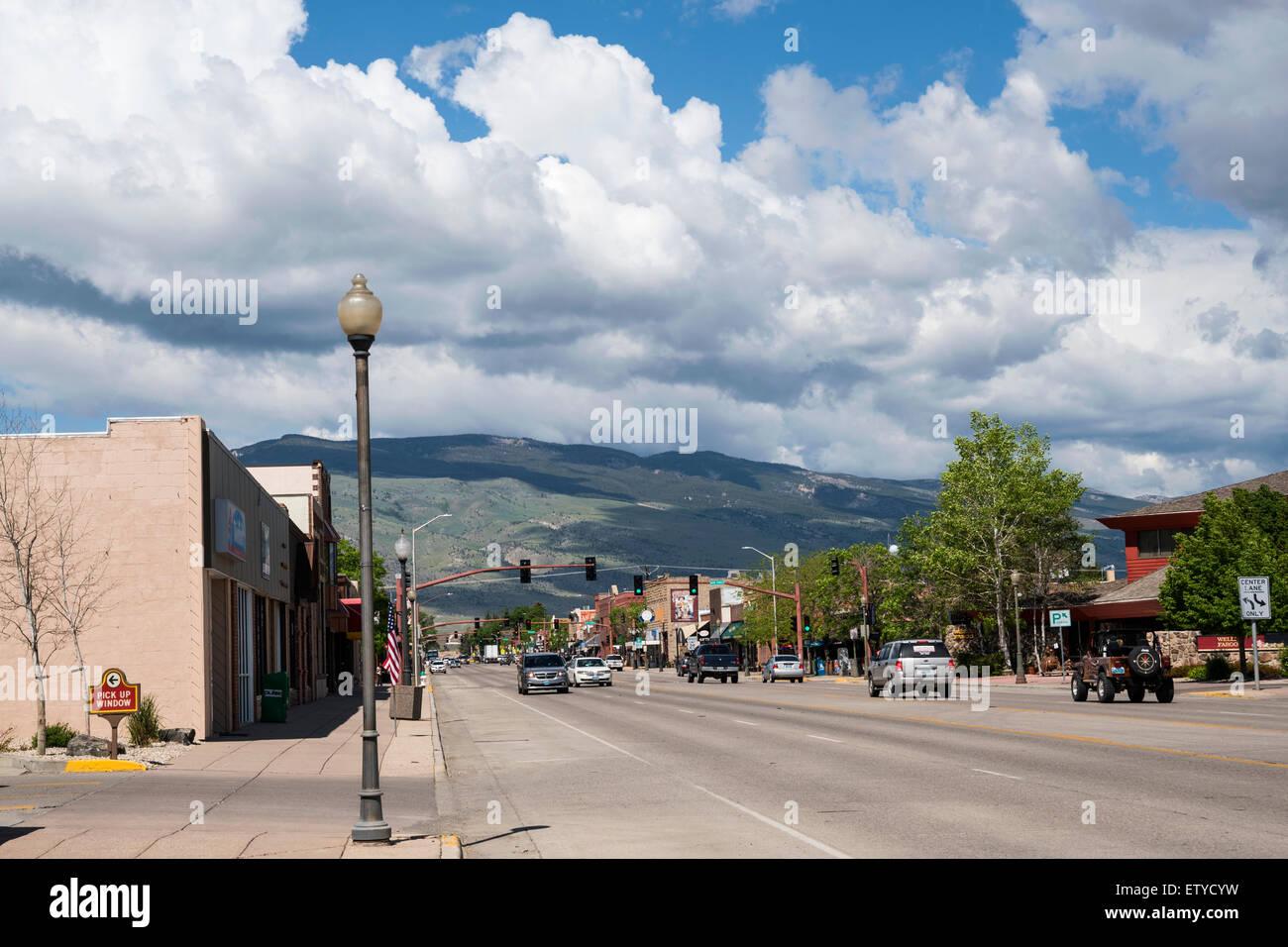 View on main Cody street, Wyoming, United States,  North America, USA - Stock Image