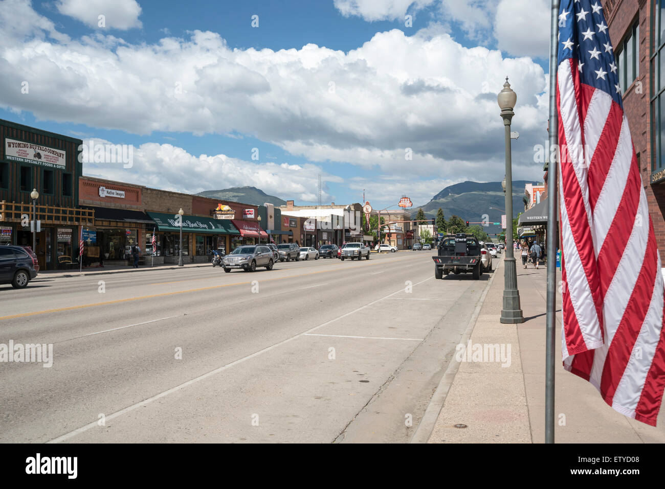 Main street and American flag, Cody, Wyoming, United States,  North America, USA - Stock Image