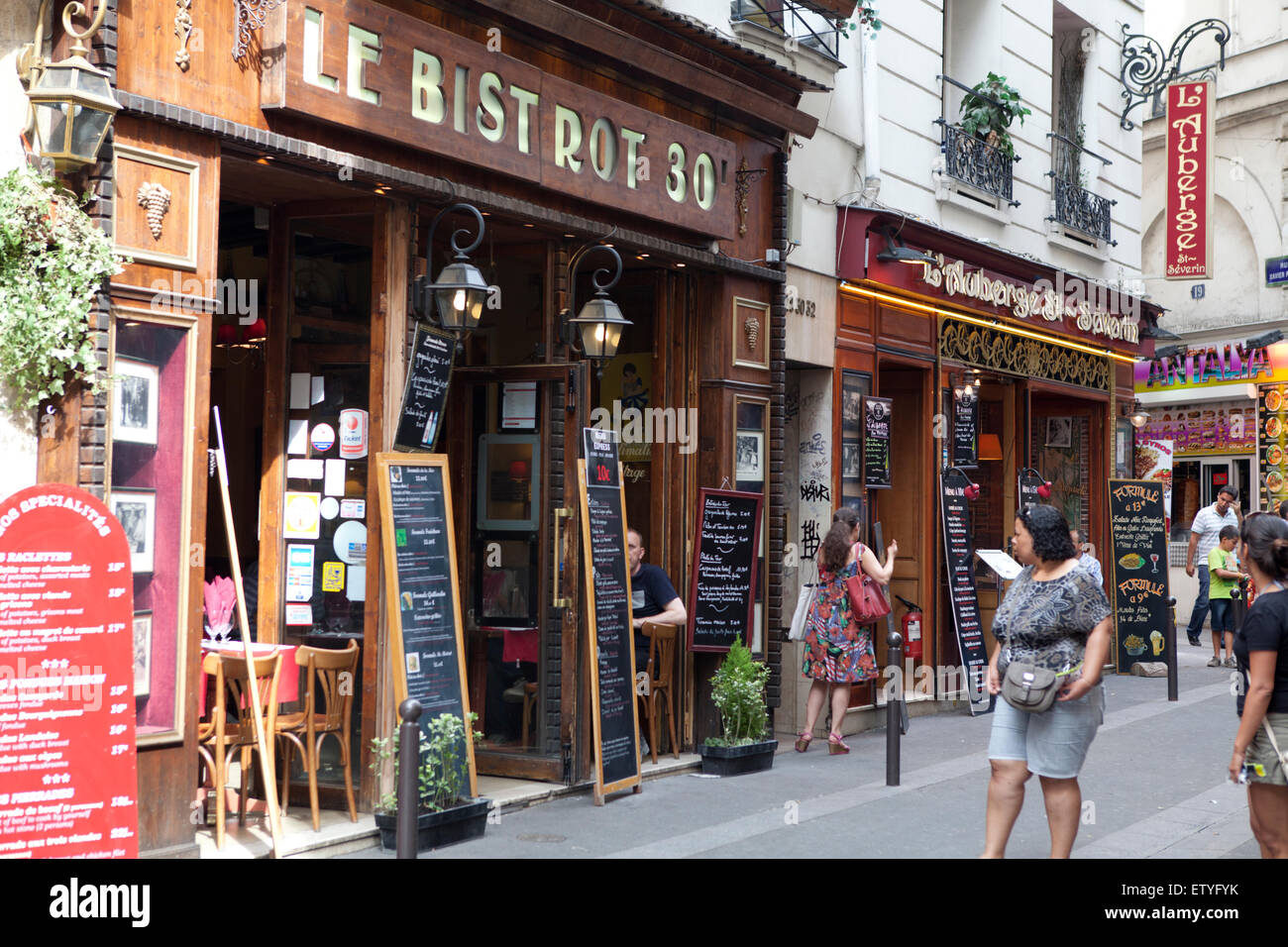 Paris Quartier Latin with it's bistrots bars and restaurants - Stock Image