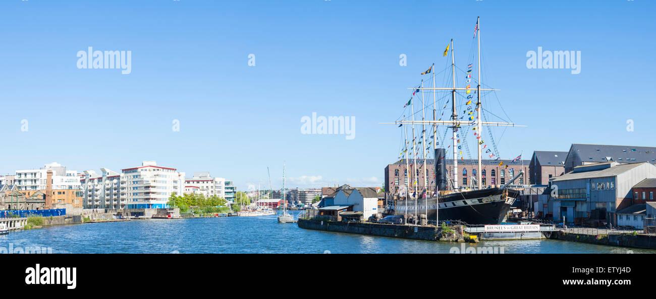 Bristol Harbour with Brunel's SS Great Britain Bristol Avon England UK GB EU Europe - Stock Image