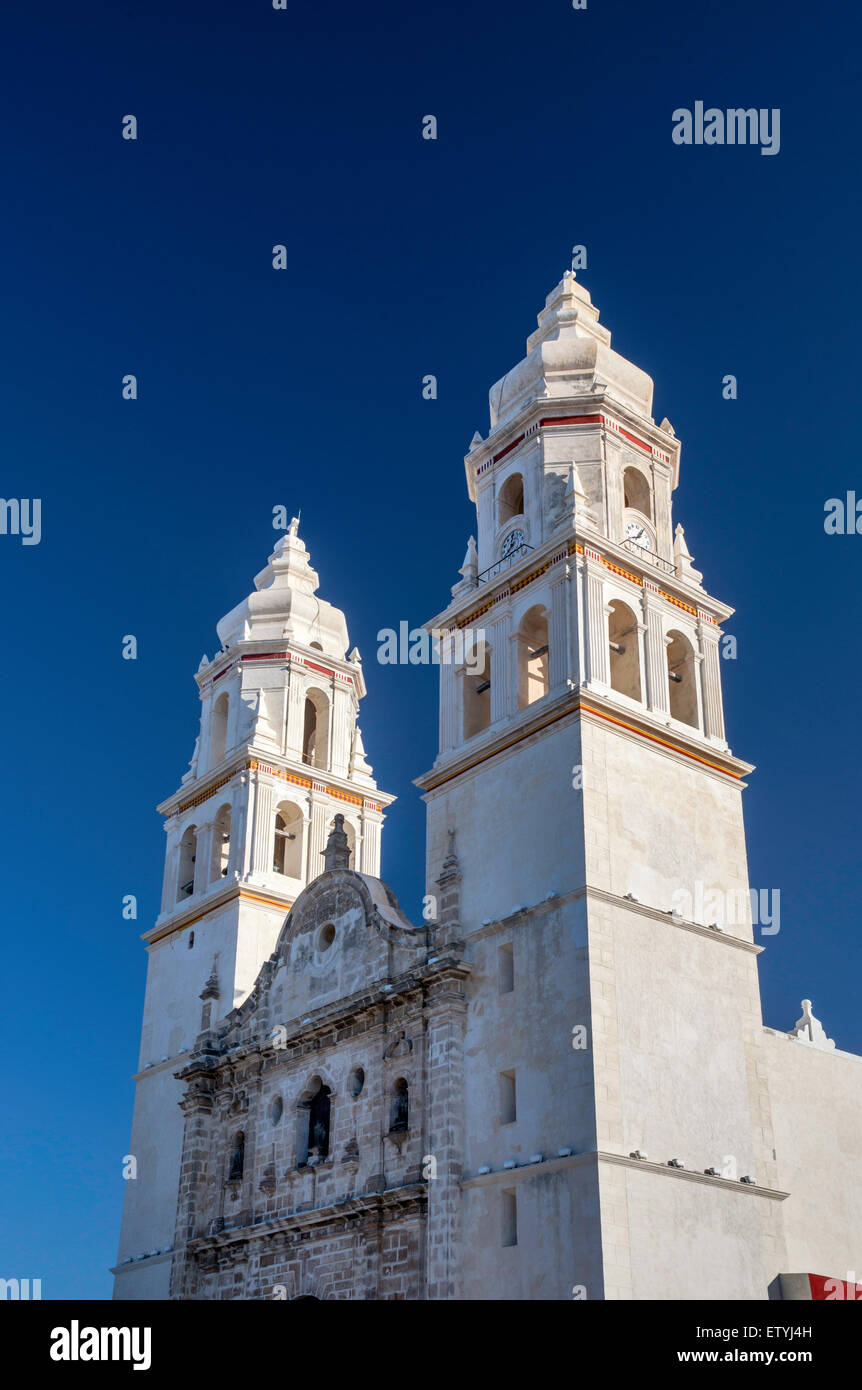 Cathedral in Campeche, Yucatan Peninsula, Mexico - Stock Image