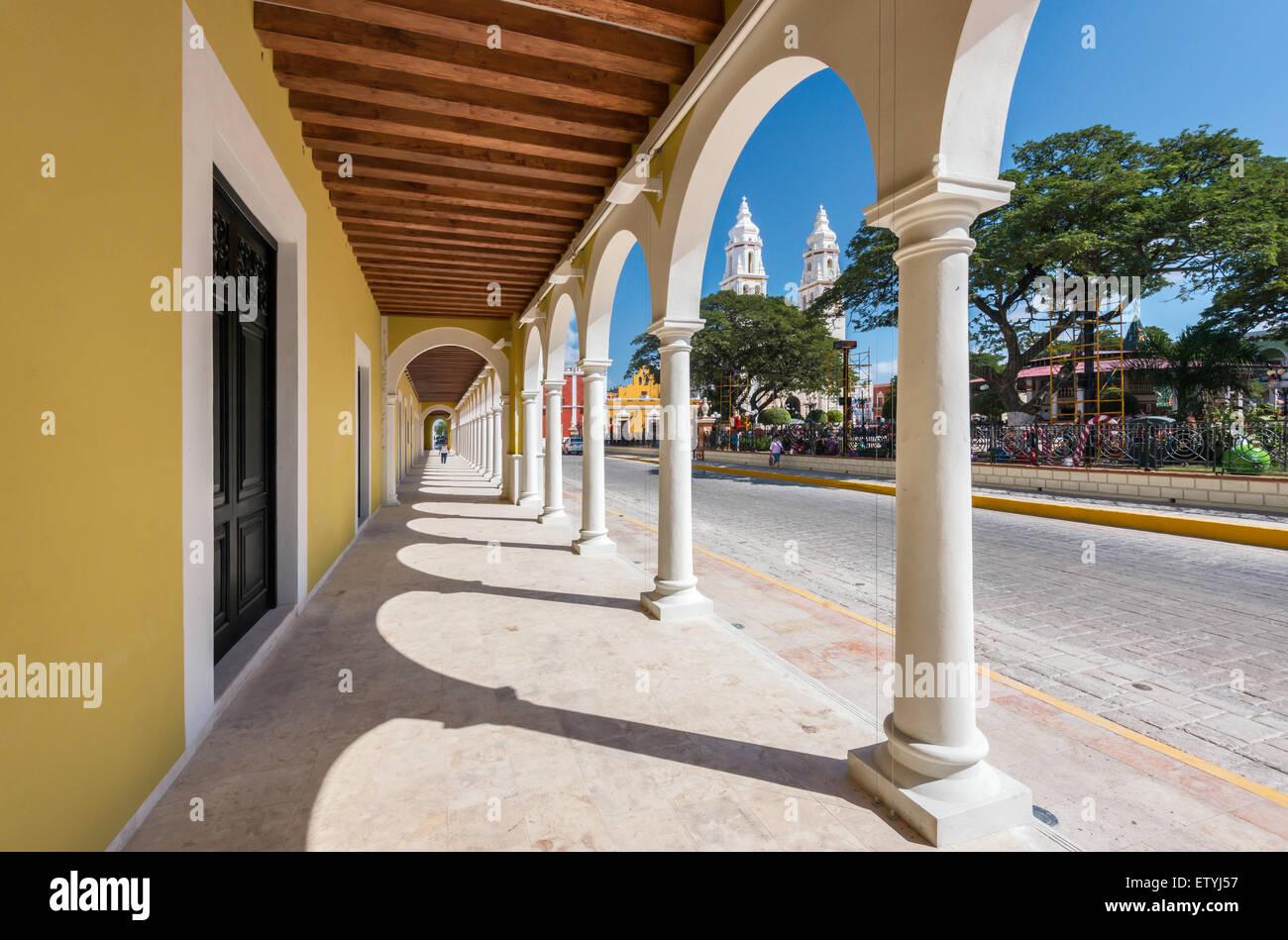 Arcade, covered walkway, at Centro Cultural El Palacio, Cathedral, Plaza Principal in Campeche, Yucatan Peninsula, - Stock Image