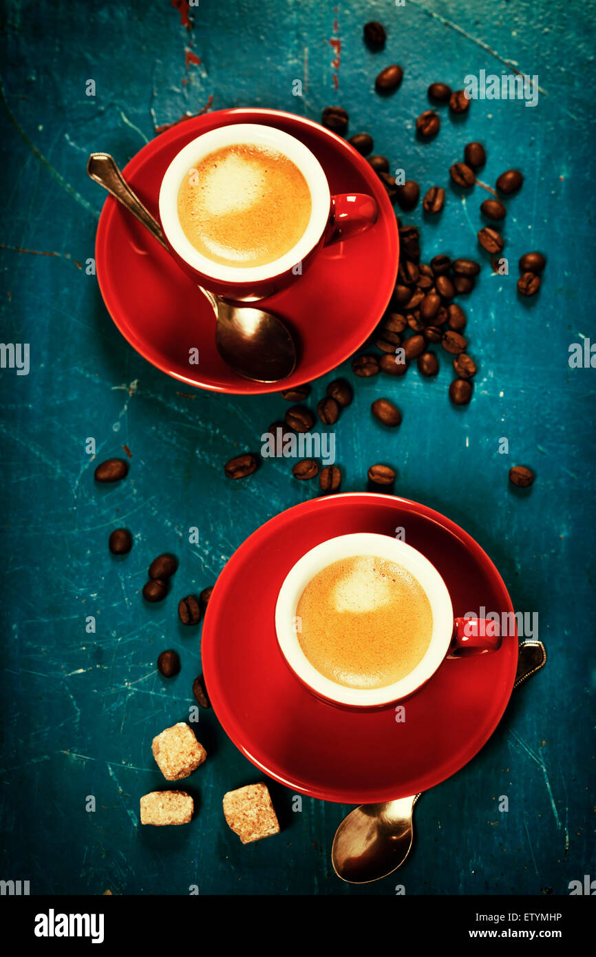 Coffee composition on blue rustic background - Stock Image