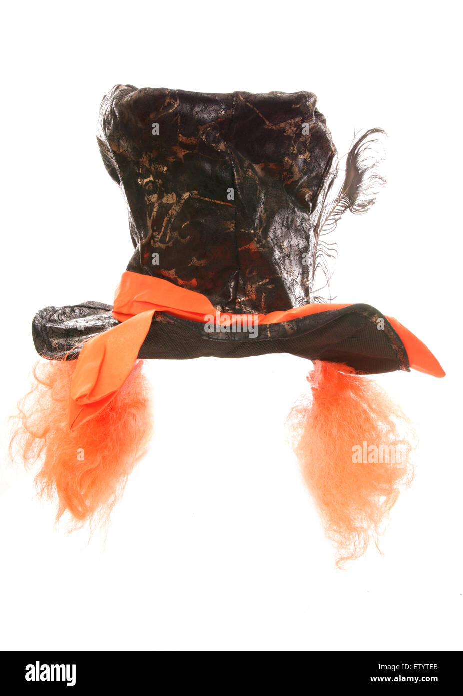 MAD HATTER TOP HAT WITH ATTACHED ORANGE WIG cutout - Stock Image