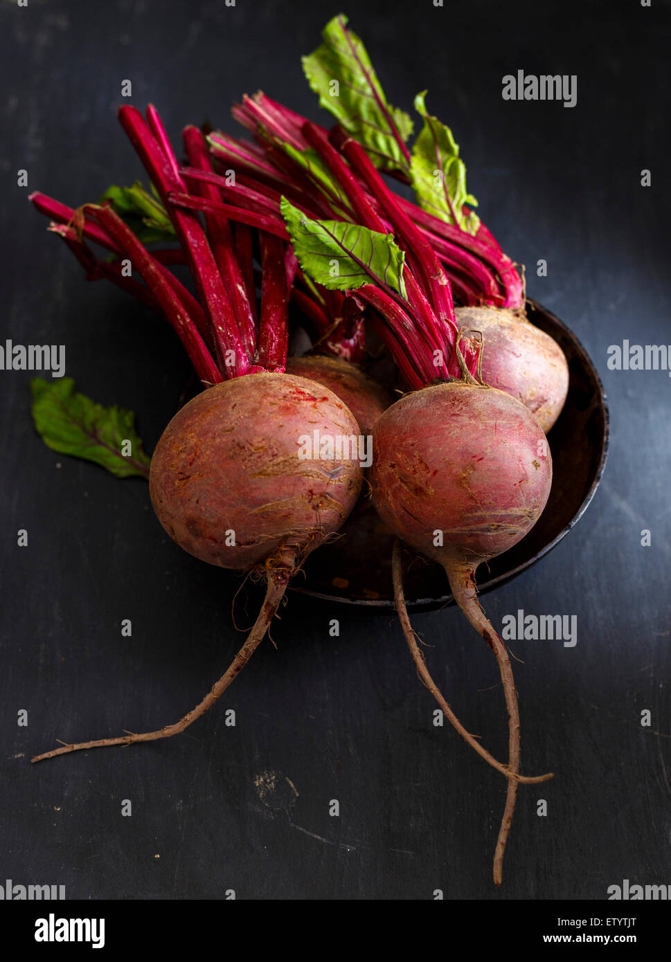 fresh Beetroot on a  wooden background - Stock Image