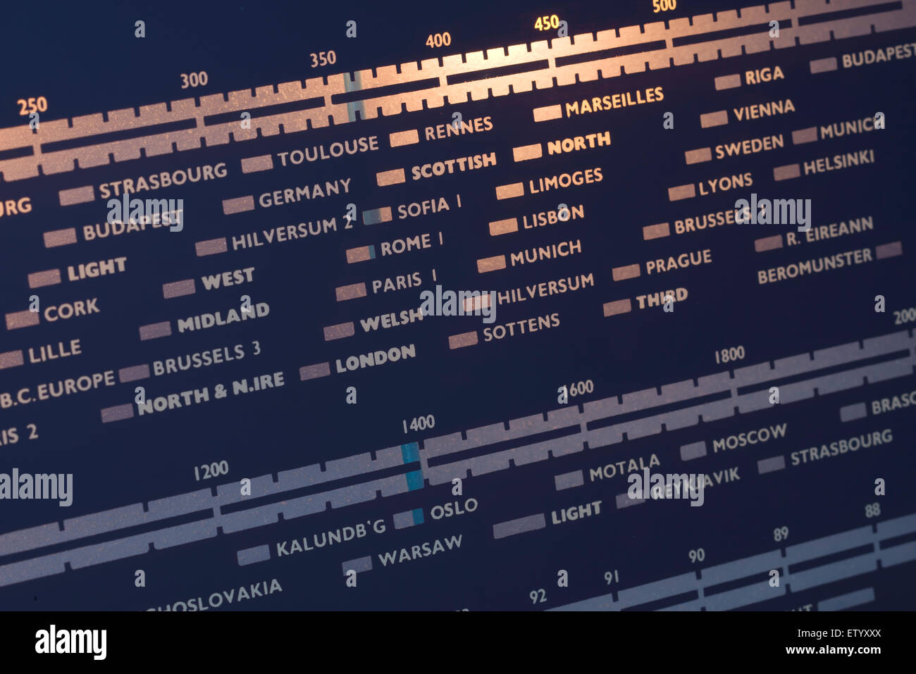 Old radiogram frequency dial. Medium wave list of radio stations. Tuning positions. Stock Photo