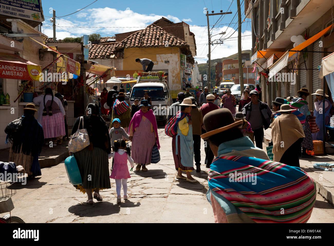 Bolivian street scene. - Stock Image