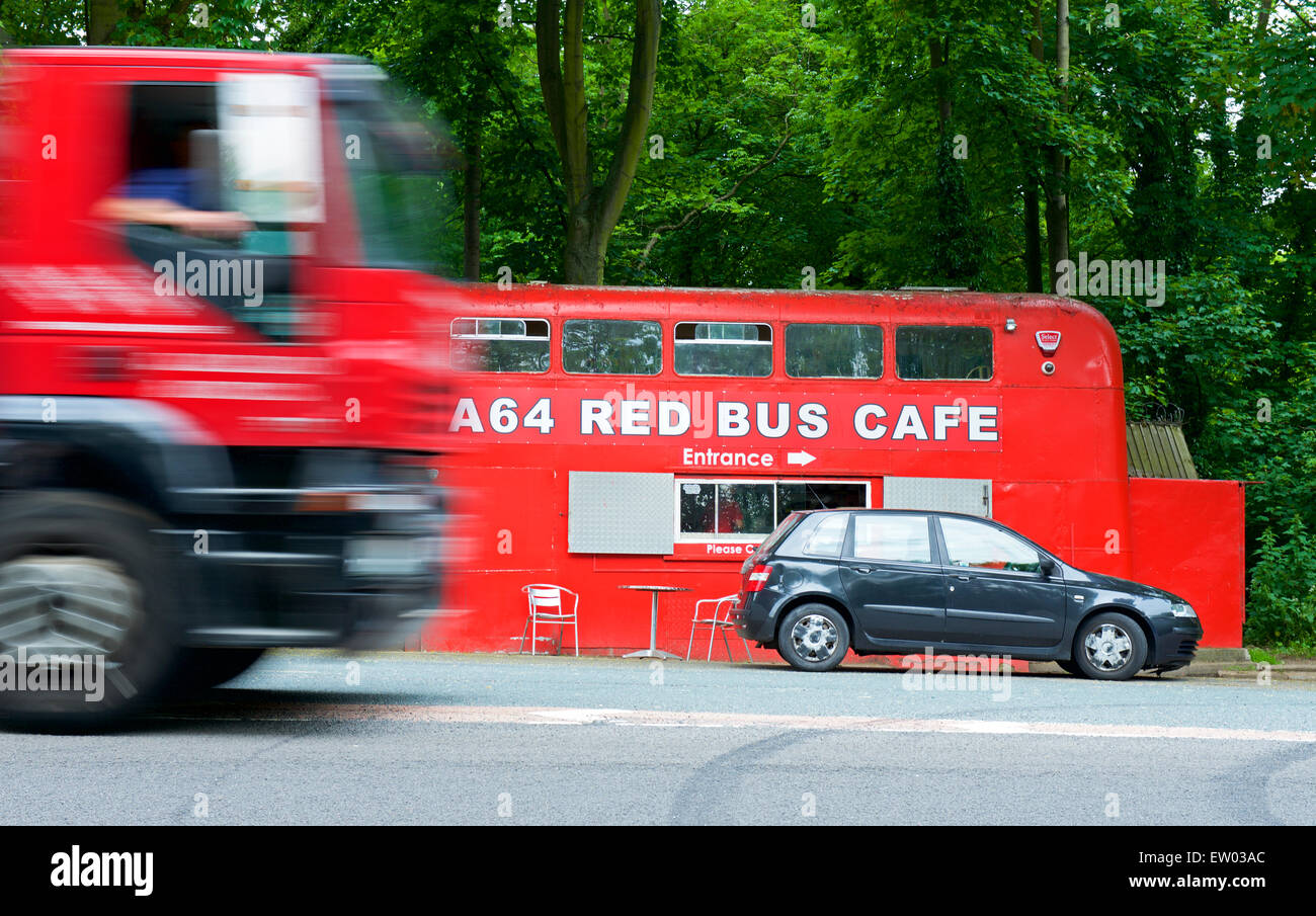 The A64 Red Bus Cafe, in layby on A64 road near Leeds, West Yorkshire, England UK - Stock Image