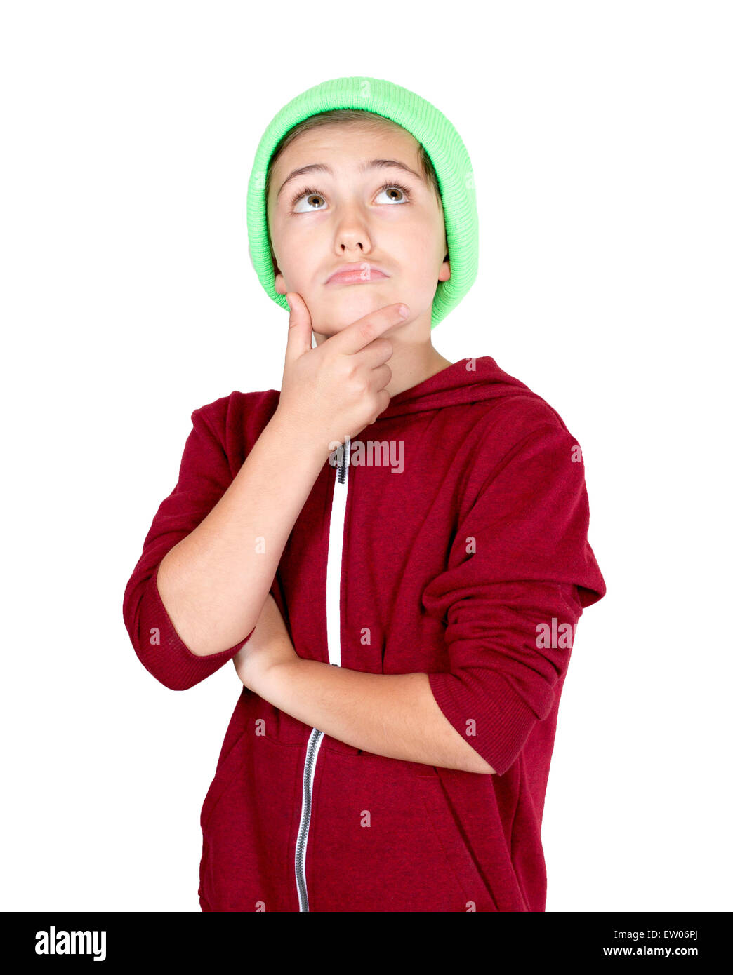 portrait of a young boy looking thoughtfully - Stock Image