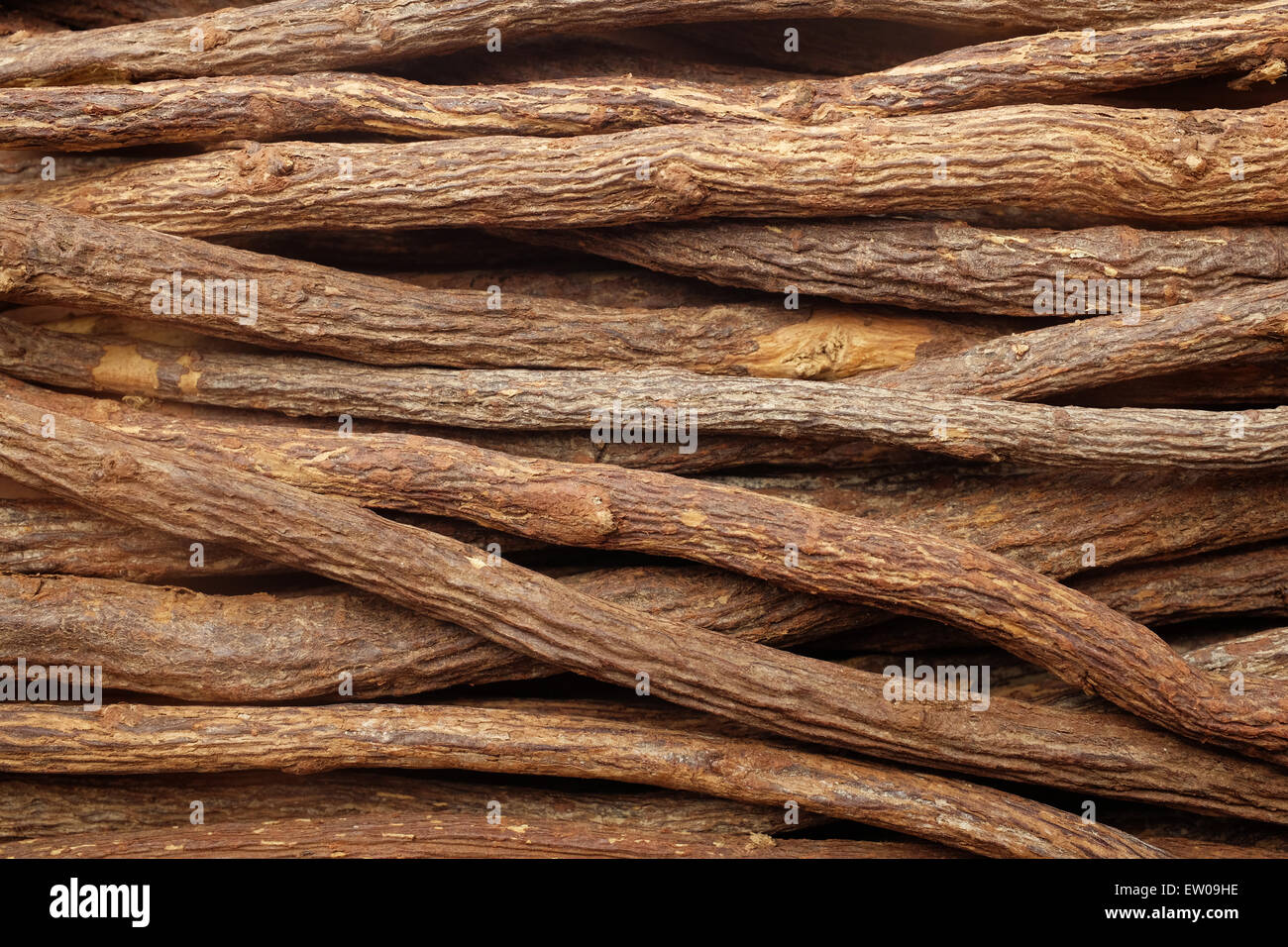Liquorice root pieces as an abstract background texture - Stock Image