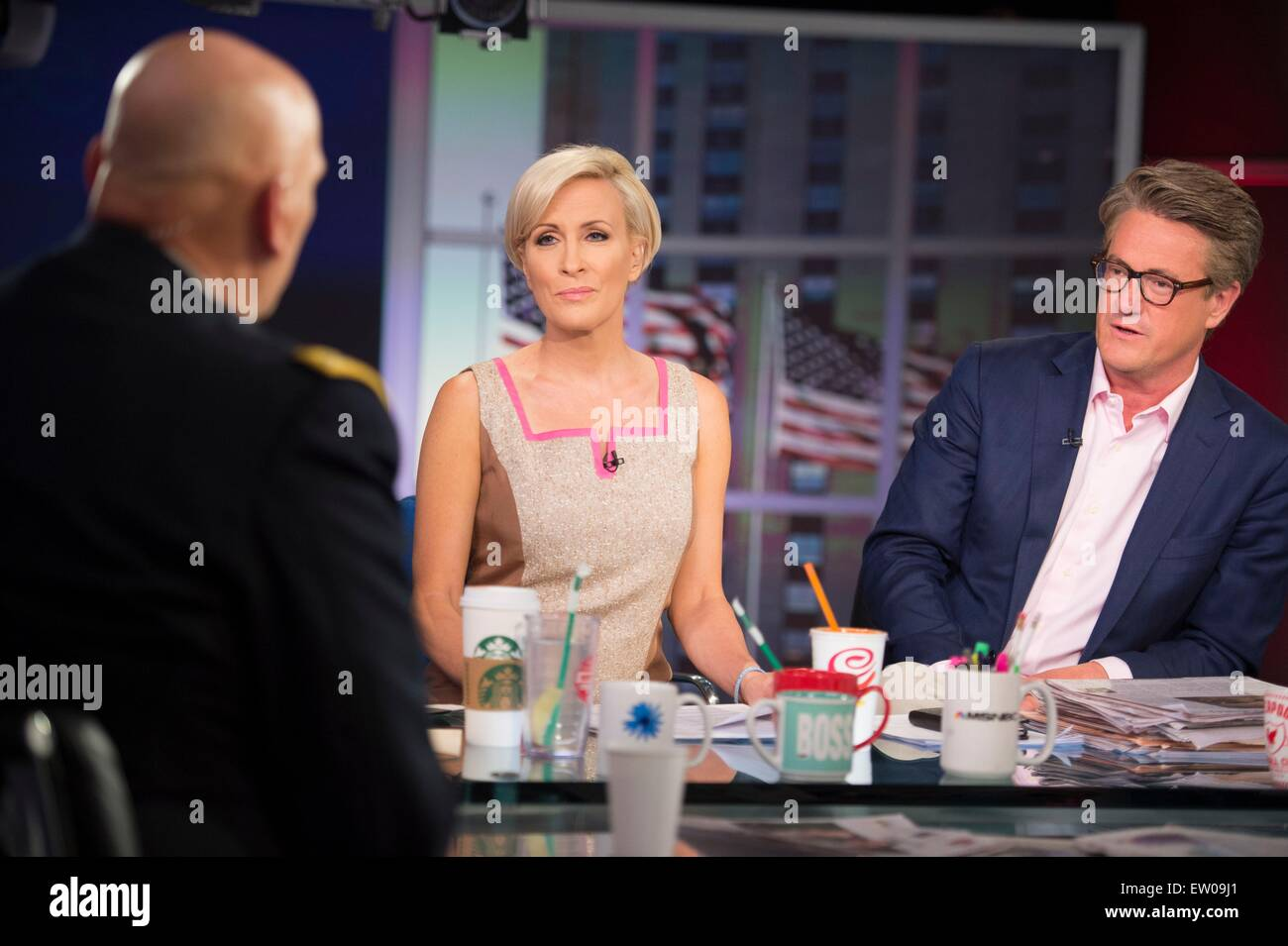 Joe Scarborough and Mika Brzezinski listen as U.S. Army Chief of Staff Gen. Ray Odierno talks during his appearance - Stock Image