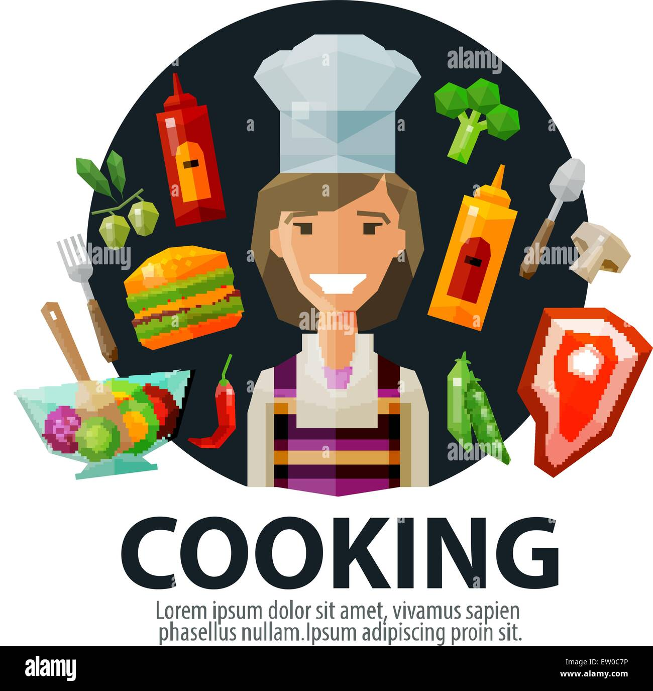 Cooking Vector Logo Design Template Fresh Food Kitchen Or Cook Stock Vector Image Art Alamy