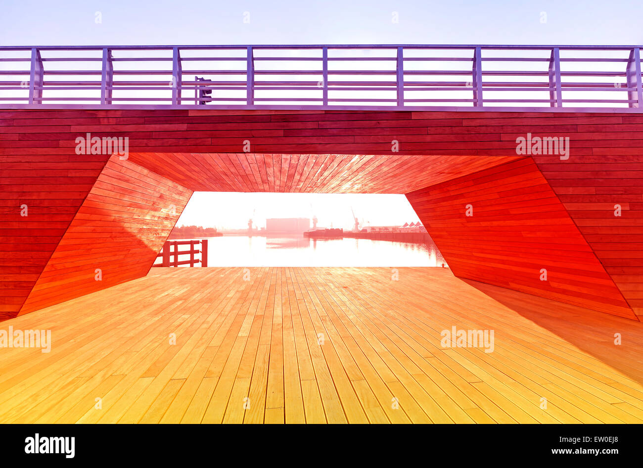 Vintage toned wooden construction background, intense colors. - Stock Image