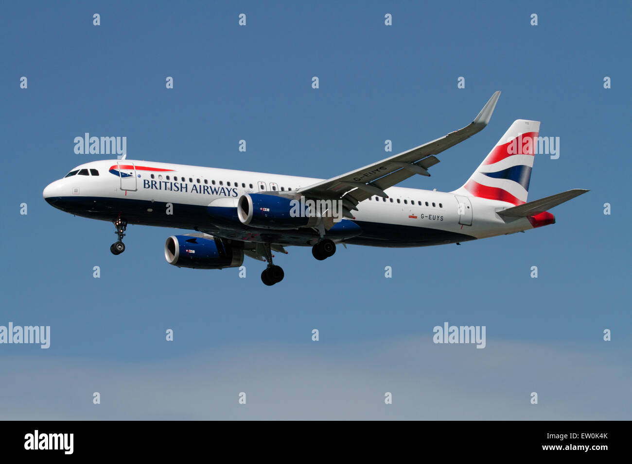 British Airways Airbus A320 passenger jet plane with sharklets (winglets or upturned wingtips). Modern aviation. - Stock Image