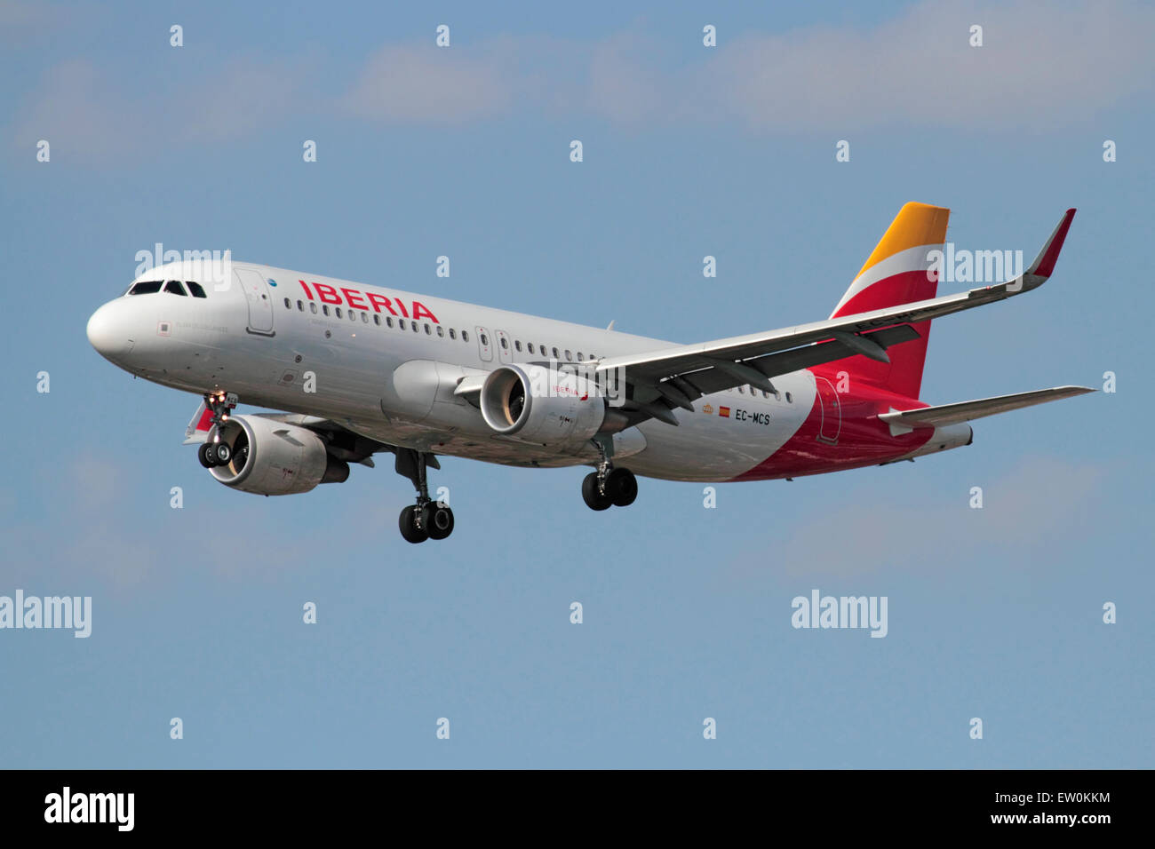 Iberia Airbus A320 passenger jet airplane with sharklets (winglets) on approach. Modern civil aviation. - Stock Image
