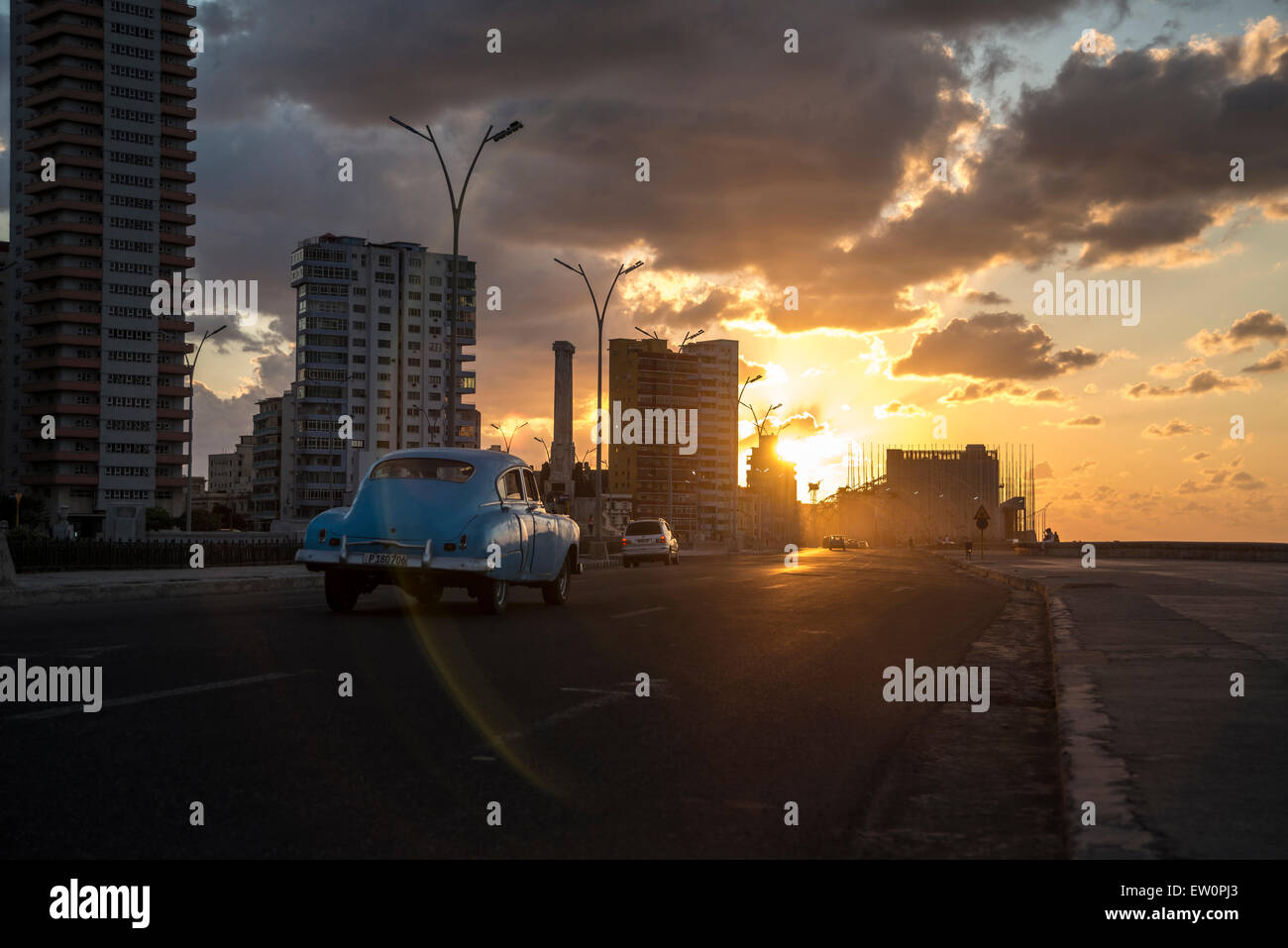 Sunset on the Malecon - Stock Image