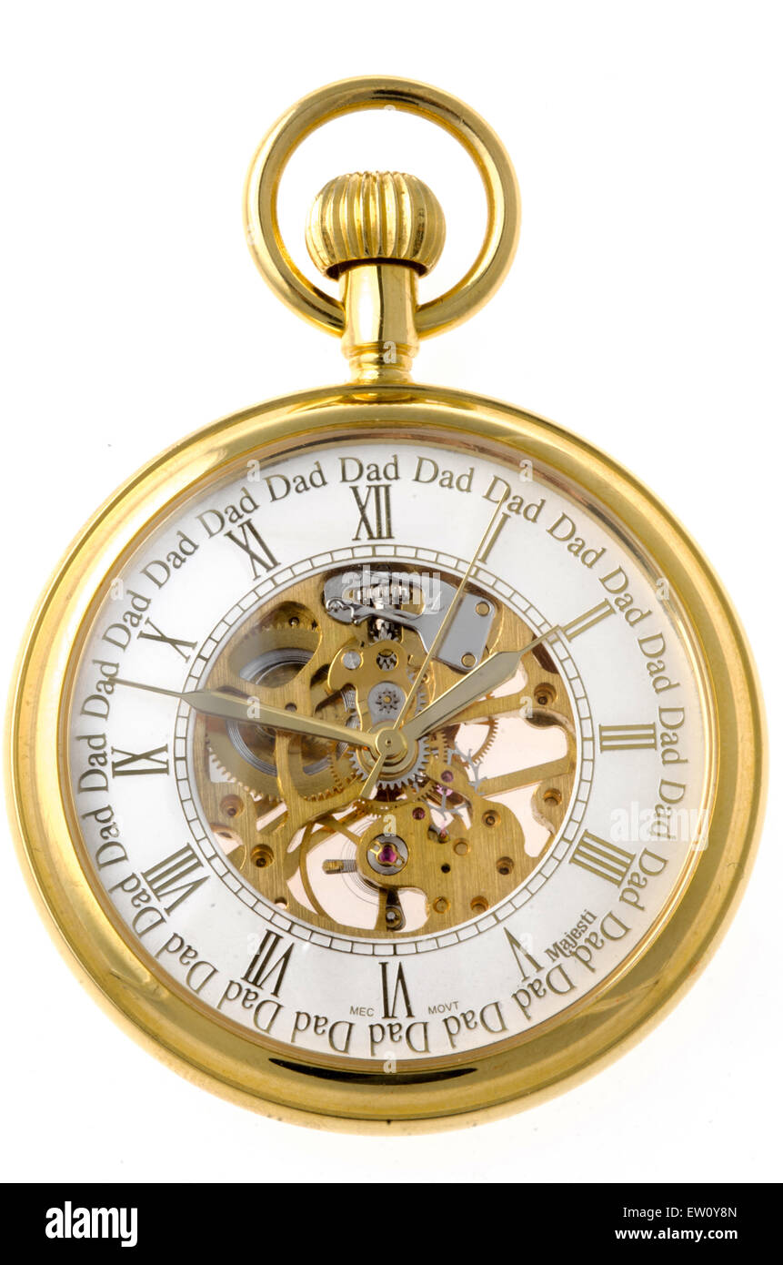 Gold pocket watch on white background. Roman numerals on the face with the word 'Dad' above the number. - Stock Image
