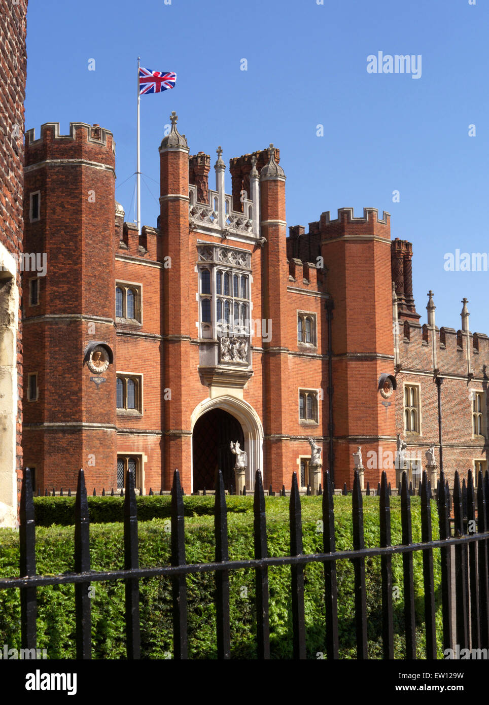 Entrance to Hampton Court Palace a royal palace in the London Borough of Richmond upon Thames Greater London Surrey - Stock Image