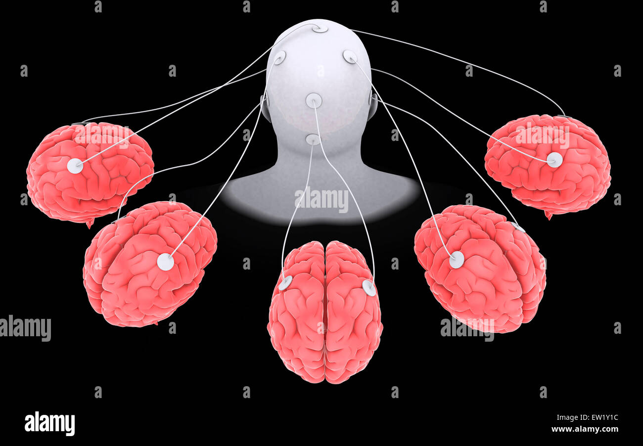 Conceptual image of multi-brain processing. - Stock Image