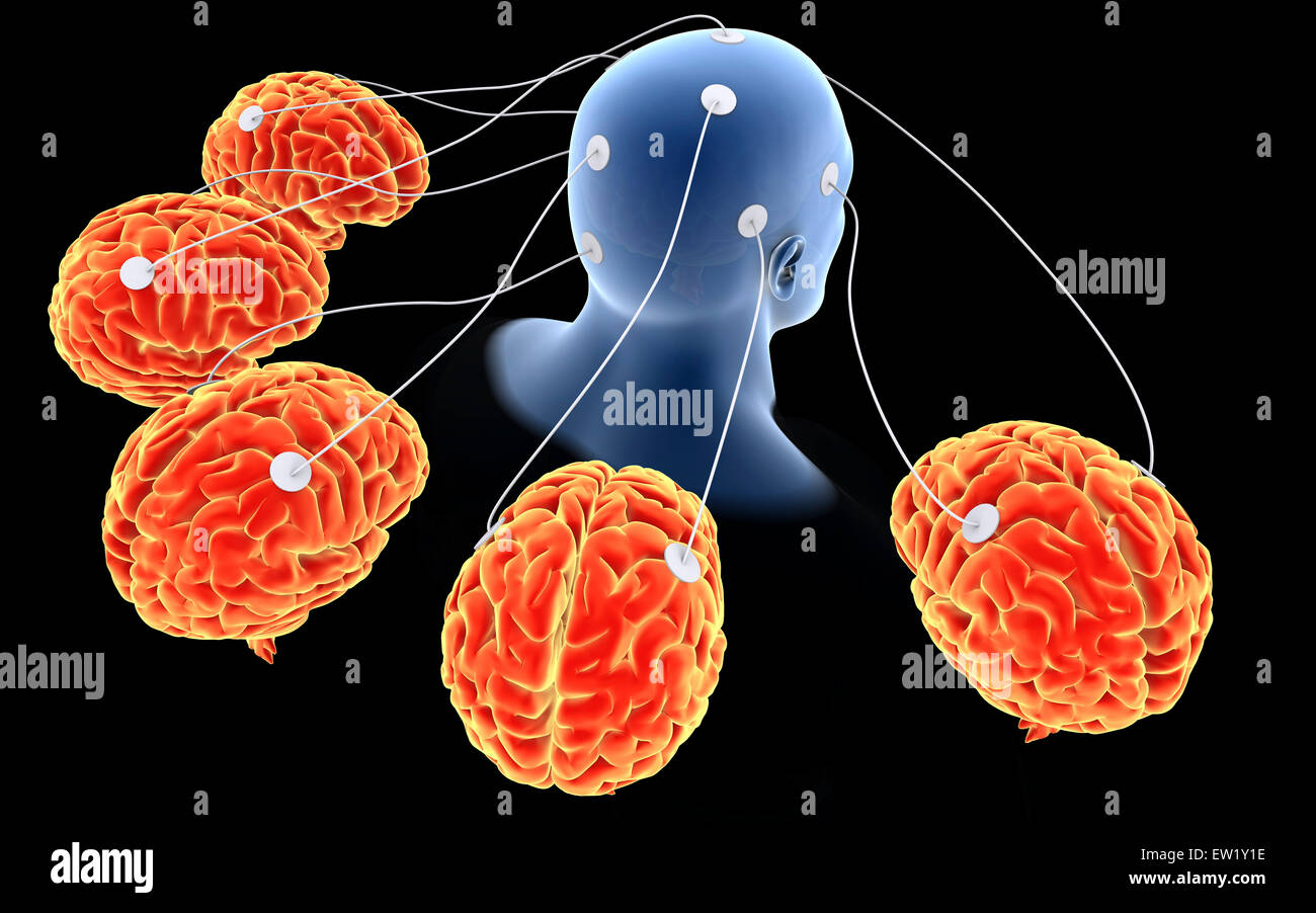 Conceptual image of multi-brain processing. - Stock Image