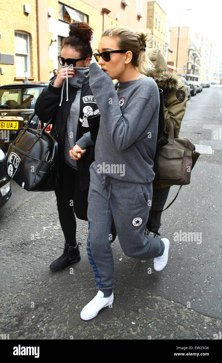 9814250a21ef Little Mix seen leaving a recording studio. Perrie sporting a grey ...