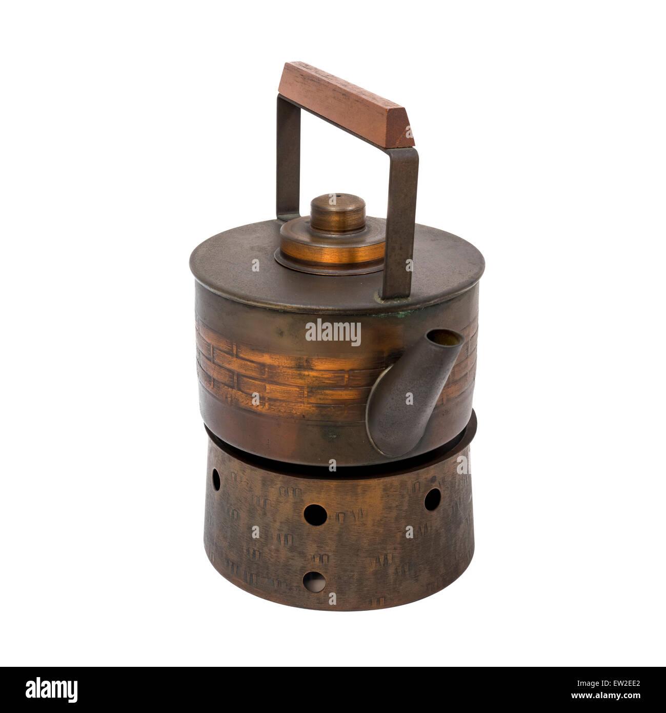 Japanese Style copper kettle on stove, isolate white background - Stock Image